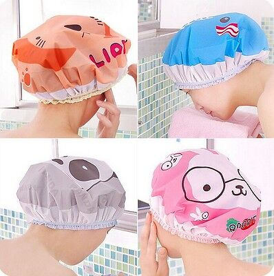 2X Pro Animal Frog Duck Shower Cap  Elastic Bath Hat Hair Protector TravelSN