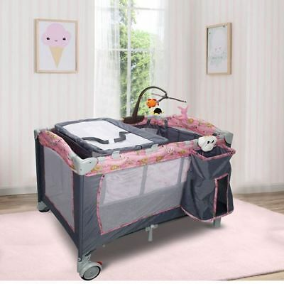 New Foldable 2 Color Baby Crib Playpen Playard Pink