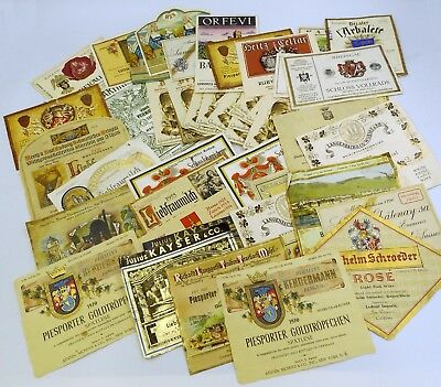 Large Lot of Assorted Vintage Wine Labels from the 1950s-70s ~ Mostly European