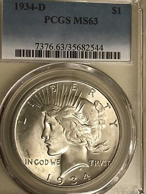 1934 D Peace Dollar PCGS MS63 Beautiful Denver Mint State Silver Coin Rare Date!