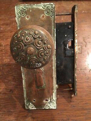 Antique Eastlake Victorian Brass Ornate Mortise and Doornob Set