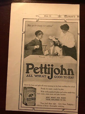 """Antique ad """"Pettijohn"""" all wheat breakfast cereal, The American Cereal Co 1907"""