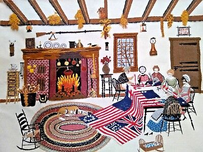 "FINISHED Crewel Embroidery SEWING BEE Colonial Women Liberty Flag 20"" x 16"""