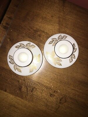 Wedgwood Gold Tonquin Pair of Candlestick Holders