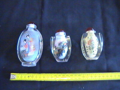 Reverse painted snuff bottles x 3 - vintage Japan 1 x 12cm and 2 x 6cm each