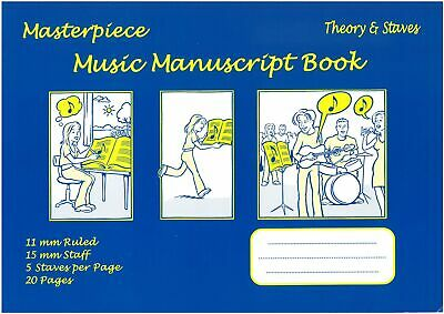 Masterpiece Music Manuscript Book - Theory & Staves - A4 - 20 pages - MSB