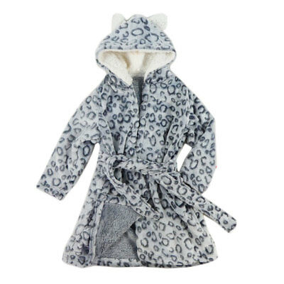 Girls Leopard Coral Fleece Dressing Gown Assorted Sizes