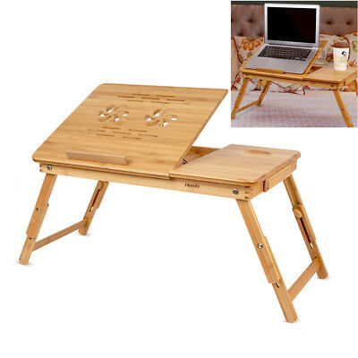 Portable Bamboo Laptop Computer Desk Table Foldable Adjustable Notebook Stand