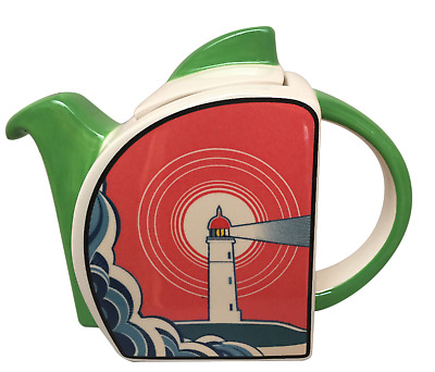 'lighthouse Waves' Art Deco Style Teapot