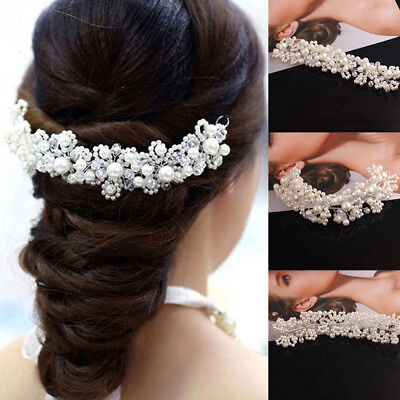 Hot Women Pearl Flower Crystal Rhinestone Wedding Bridal Headband Clip Hair Band