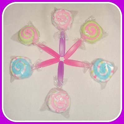 6 Washcloth Lollipops-Great Baby Shower Gift