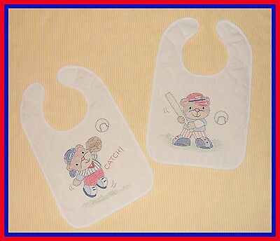 Set Of Two  Baby Boy Cross Stitched Bibs-Beautiful Shower Gift Idea