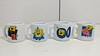 "Spongebob Squarepants Mini Mugs Miniature Lot of 4 2002 Viacom 1.25"" x 1.5"""