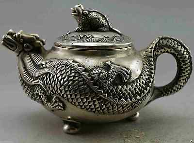 chinese old copper plating silver dragon carved decorative handmade teapot  d02