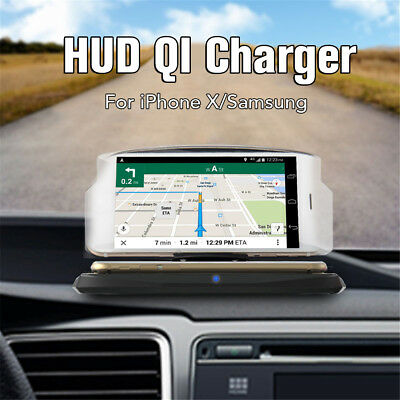Car Wireless Charger HUD Head Up Display Holder GPS Navigation Charging Dock