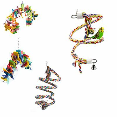 2018 Colorful Parrot Pet Bird Chew Hang Toys Wood Large Rope Cave Ladder Chew KU