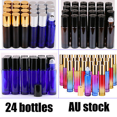 24 10ml Glass Roller Bottles Big Steel Ball Roll On Bottle for Essential Oils