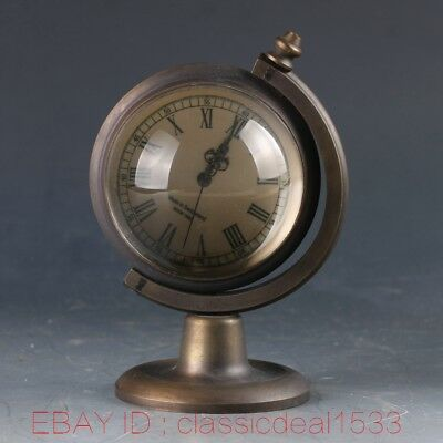 Vintage Collectible Old Chinese Brass Handwork Mechanincal Globe Clock MY0249
