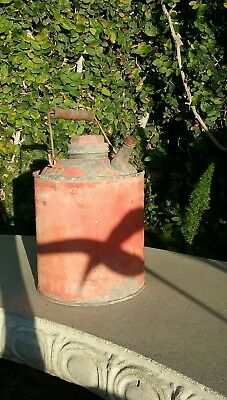 Great! VINTAGE Galvanized Metal 1 Gallon Gas Oil Kerosene Can Wood Handle Orange