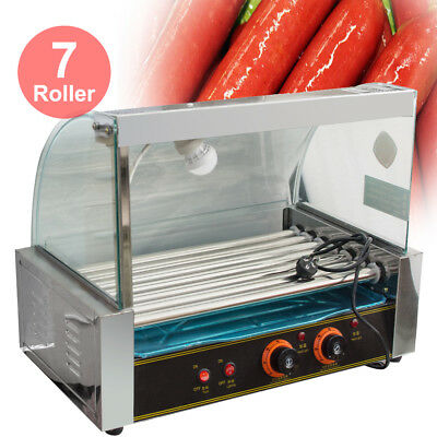 Quality Commercial 18 Hot Dog Hotdog 7 Roller Grill Cooker Machine w/ Cover Hood