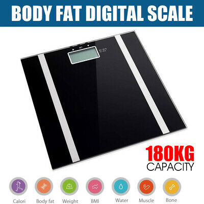 Digital Electronic Scale Body Fat LCD Bathroom Gym Weight Water White or Black