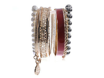 Shiny Cute Indian Layering Faux Pearl Golden Tone Dangling Red Bangle Bracelets