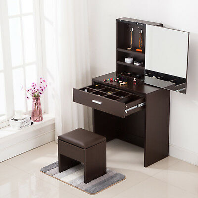 Charmant Vanity Dressing Desk Makeup Table With Mirror Cabinet U0026 Drawer Storage  Espresso