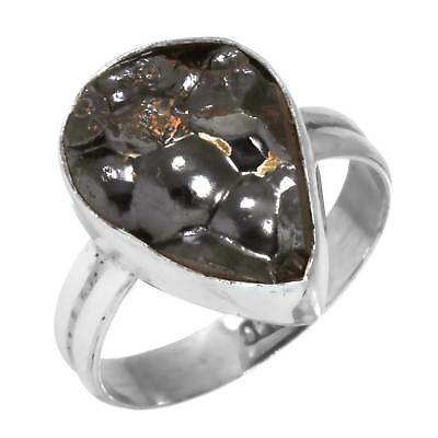 Genuine Blister Hematite Solid 925 Sterling Silver Designer Ring Size Q AA18149