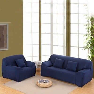 1-4 seater Stretch Fit Sofa Cover Lounge Couch Removable Slipcover Washable Blue