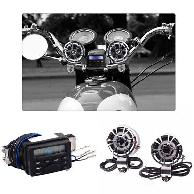 Motorcycle Handlebar Audio FM Raido MP3 AUX Speakers System For Harley Cruisers