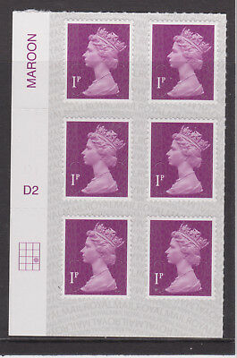 GB MNH MACHIN DEFINITIVE SG U2920 1p DEEP CRIMSON MAIL M17L CYLINDER PB-Ls SPB2u