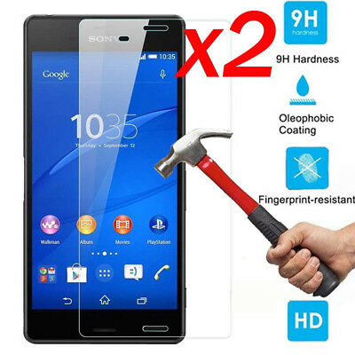 2X Premium Real Screen Protector Tempered Glass Protective Film For Sony Xperia