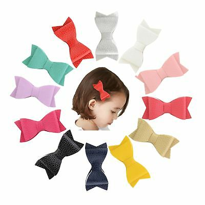 """12 Pcs/Lot Leather 3"""" Hair Bow with Alligator Clips for Baby Girl Kids Barrettes"""