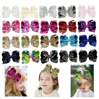 "8"" Large Sequin Glitter Bow Hair Clips for Baby Girl Toddlers Kids Children Gift"