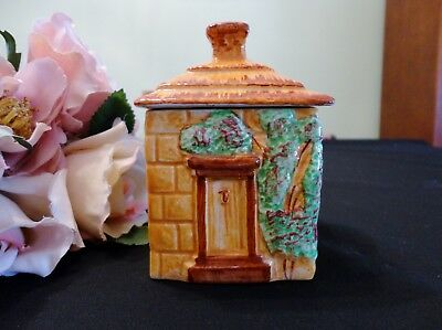 Vintage English Staffordshire Lidded Jam Pot Cottage Design