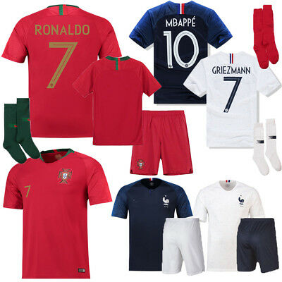 2018 Ronaldo Football Soccer Jersey Kit Kid Youth Outfits Short Sleeve Club Suit