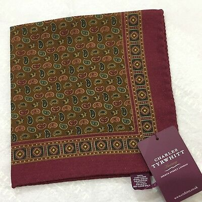 Mens Pocket Square CHARLES TYRWHITT Hand Made Italy Wool BERRY BROWN Paisley