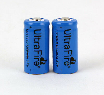 Ultrafire 3.7V 1200mAh 16340 Rechargeable Li-Ion Battery Batteries CR123A / 2pcs