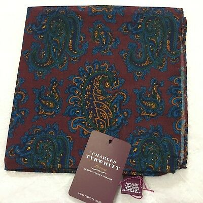 Mens Pocket Square CHARLES TYRWHITT Hand Made Silk Wool BURGUNDY BLUE Paisley
