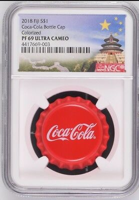 NGC PF69 2018 Fiji Coca-Cola Bottle Cap $1 6g Silver Proof Coin Temple Label COA