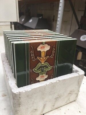 Fire Side Tiles 10 Boxed Art Nouveau Fireplace Tiles Majolica Tubelined Ju18/37
