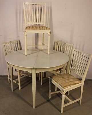 Vintage Swedish Gustavian dining setting table chairs birch antique painted 1950