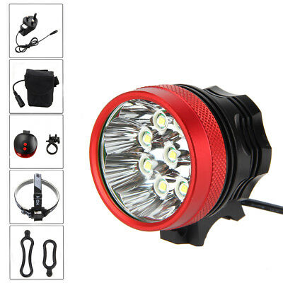 Super Bright 20000LM 9x XM-L U2 LED Bicycle Light Cycling Front Rear Laser Lamp
