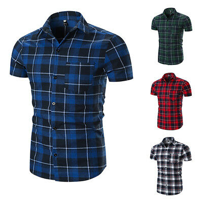 Men Shirts Check Work Polyester Everyday Summer Short Sleeve Casual Tops