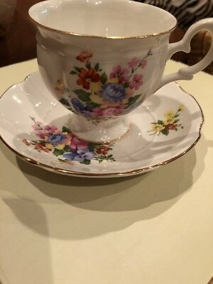 Vintage Staffordshire England Fine Bone China Pink Crown Cup And Saucer