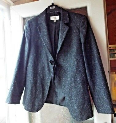 Next Charcoal Grey , Wool Blend Jacket, Ribbon Tie Front, Size 12 Maternity