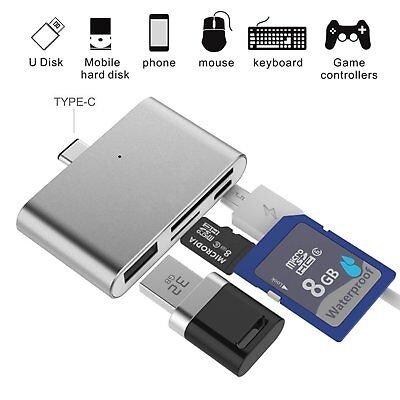HUB Adapter SD Card Reader Thin USB3.1 OTG Type-C Adapter for CF/SD/TF Micro SD