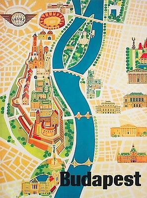 Budapest Hungary Street Vintage Travel Wall Decor Advertisement Art Poster Print