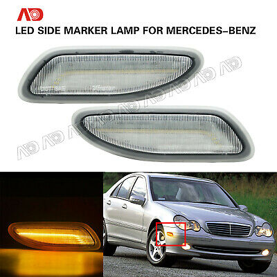 Clear Front LED Side Marker Lamp For 01-07 Mercedes-Benz W203 C-Class C230 C280