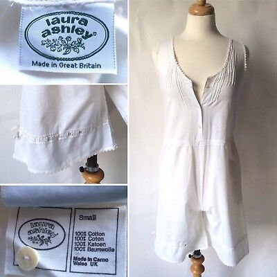 Vintage 1970s Laura Ashley White Cotton Bloomers Playsuit Bedwear Carno Wales S